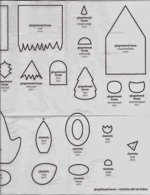 Moldes para fazer uma casinha de feltro