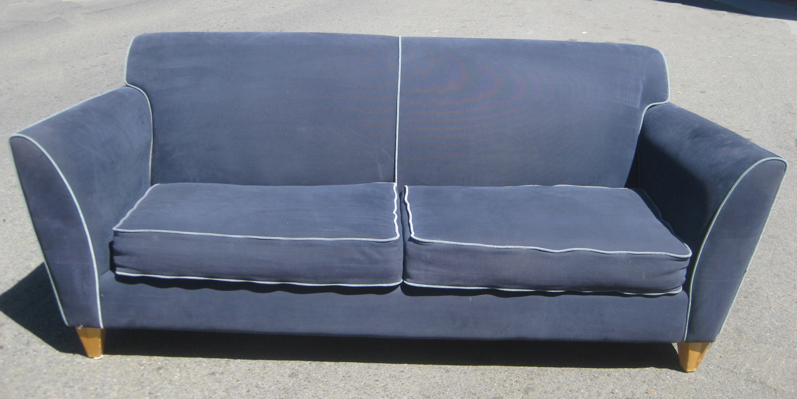 Sofa with piping contemporary blue fabric sectional sofa for Blue and white sofa