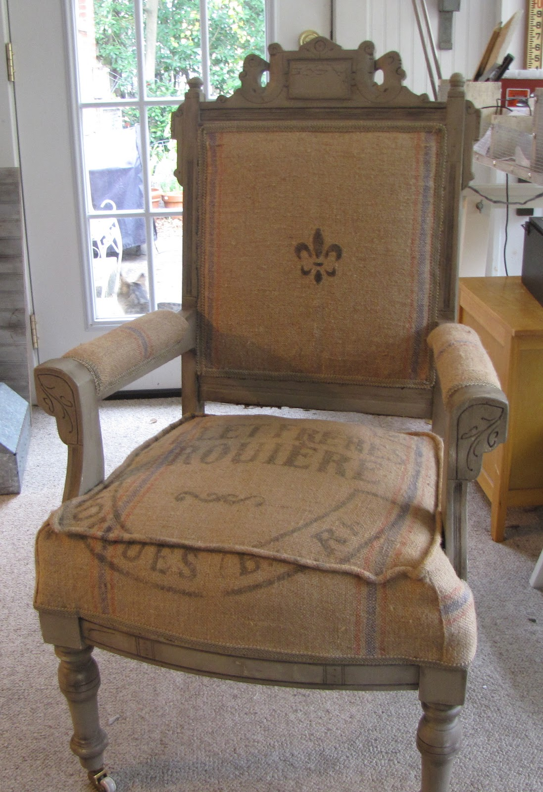 French Grain Sack Chair Reupholstery