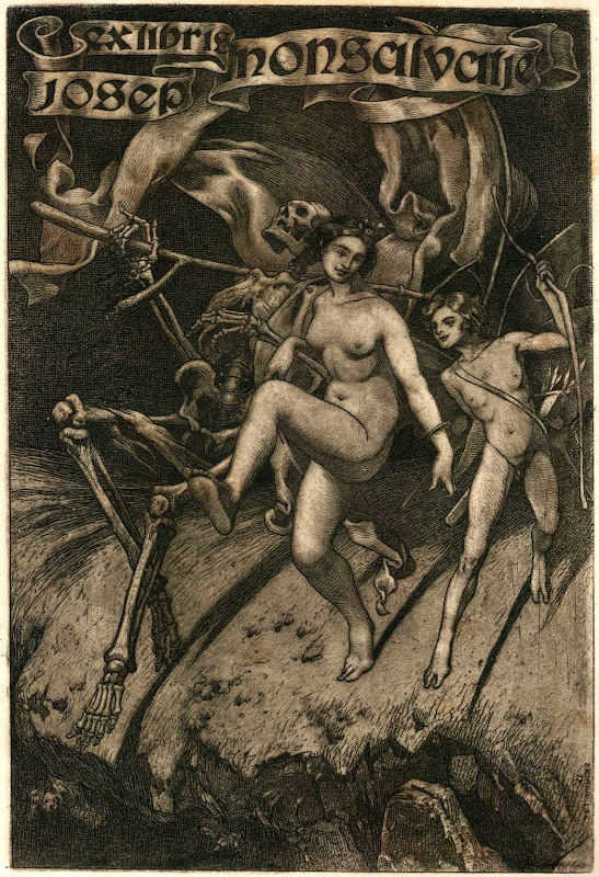 Exlibris med døden, pige og Amor dansende på afgrundens rand