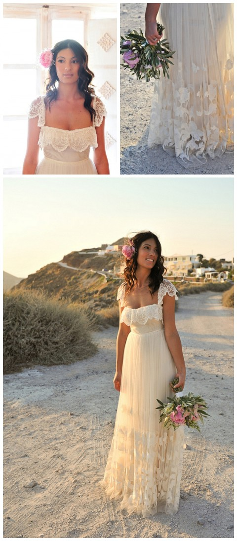 Boda griega en Santorini, la novia