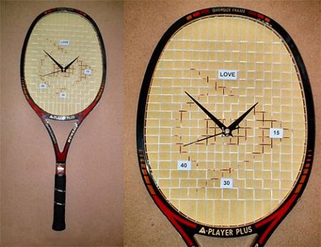 Ideas para reciclar raquetas de tenis muebles y accesorios - Decoracion relojes de pared ...