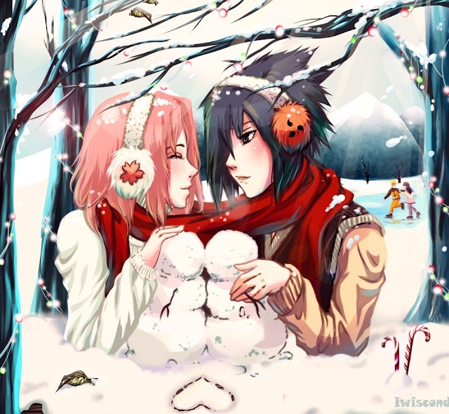 anime christmas, anime couple, Sakura x Sasuke