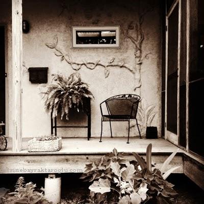 sepia photograph porch