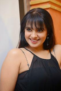 Actress Saloni Aswani Picture Gallery in Black Long Dress at (GAMA) Gulf Andhra Music Awards 2014 Press Meet  2.JPG