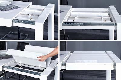 biely stôl 160cm do jedalne, predlazovaci jedalensky stôl, roztahovaci stôl v bielej lesklej farbe