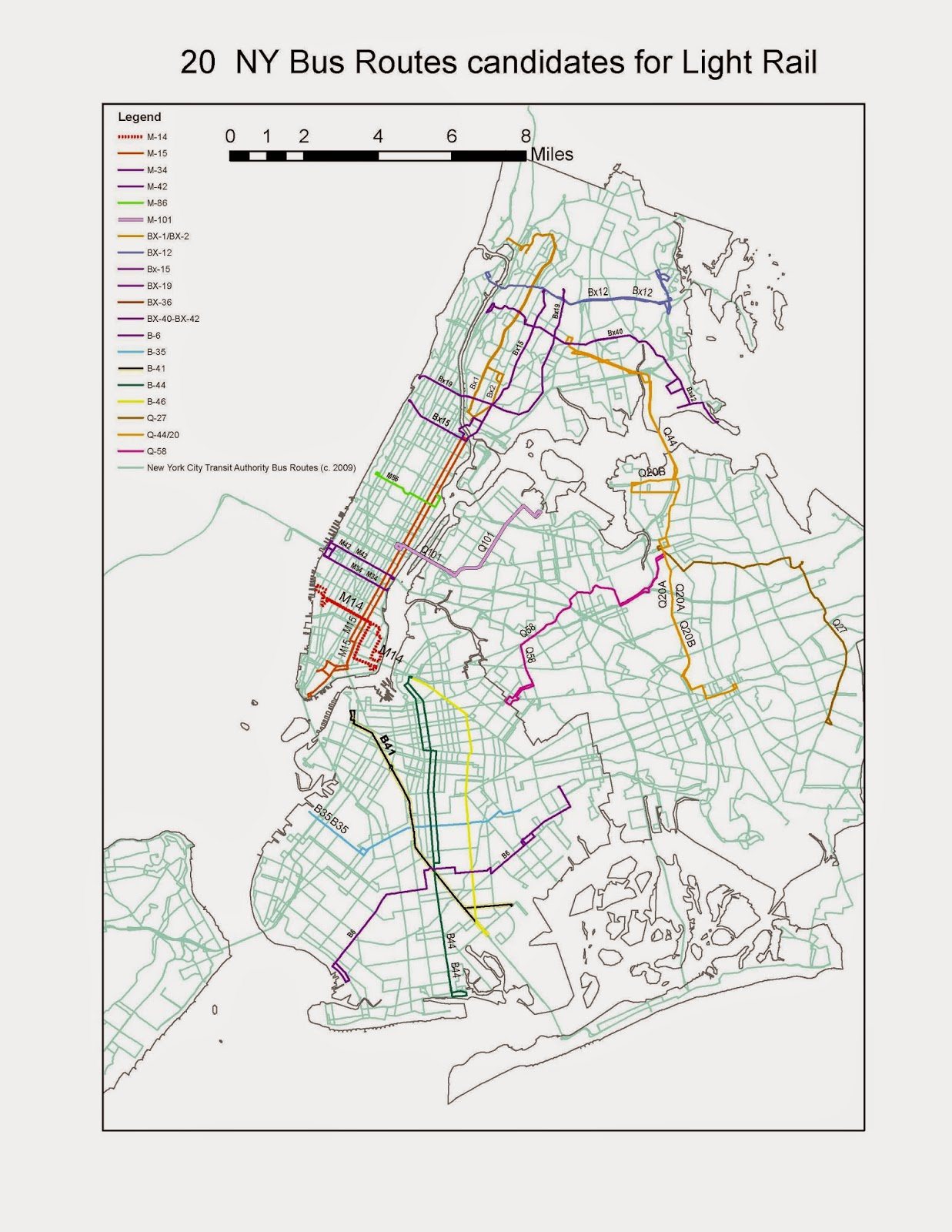 Streetcars and Spatial ysis: Twenty NYC Bus Routes are ... on