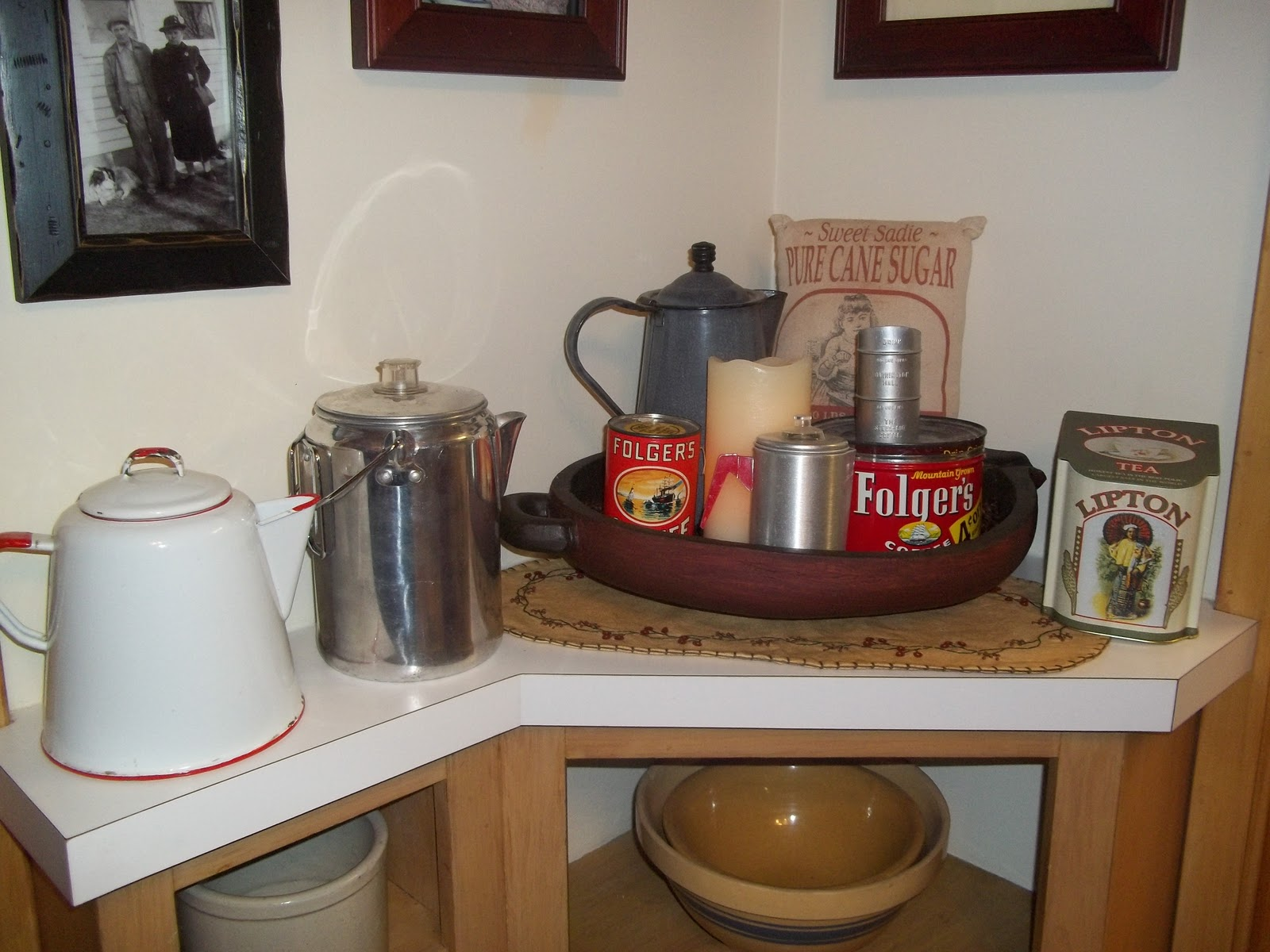 Expanded Coffee Themed Vignette Organized Clutter