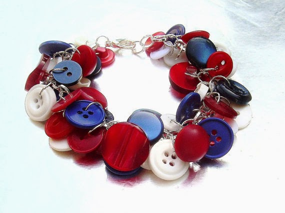 red white and blue button bracelet by BettysRubble