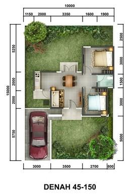 Denah Rumah Bukit Jasmine Citra Indah Tipe 45/150