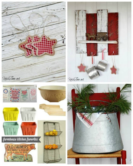 Christmas projects - gingham and brown paper ornaments, pallet wood Christmasshelf, farmhouse decor Christmas wish list, rusty vintage style bucket for Christmas - KnickofTime.net
