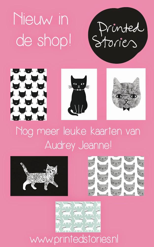 Audrey Jeanne kaarten katten poezen printed stories