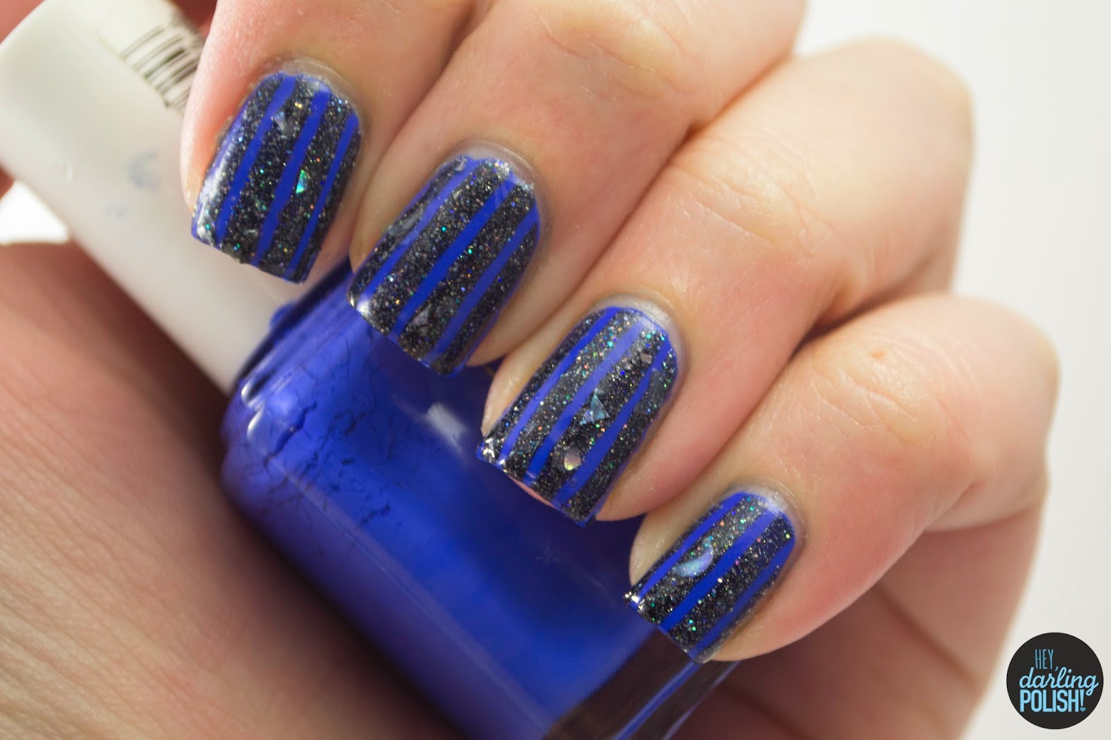 nails, nail art, nail polish, polish, stripes, blue, glitter, indie, indie polish, hey darling polish, lacquer legion, lucky, LLlucky, LynBDesigns