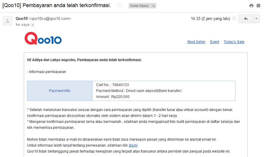 Pengalaman Cara Belanja Online di Qoo10 Indonesia - Aditya-Web.com