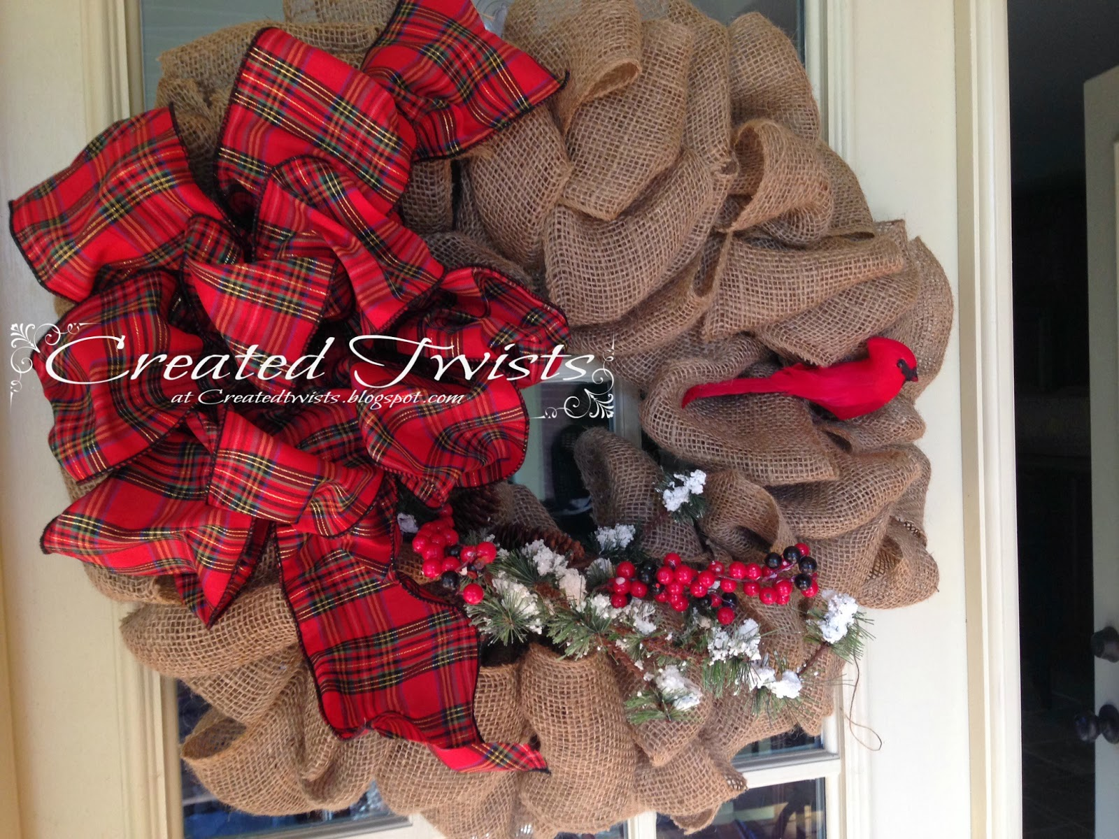 Created twists christmas wreaths Burlap xmas wreath