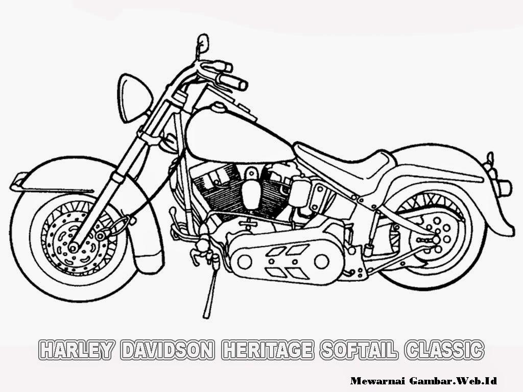 gambar motor harley davidson untuk mewarnai