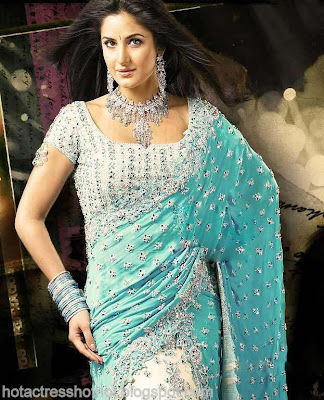 katrina kaif hot pics in blue saree spicy images