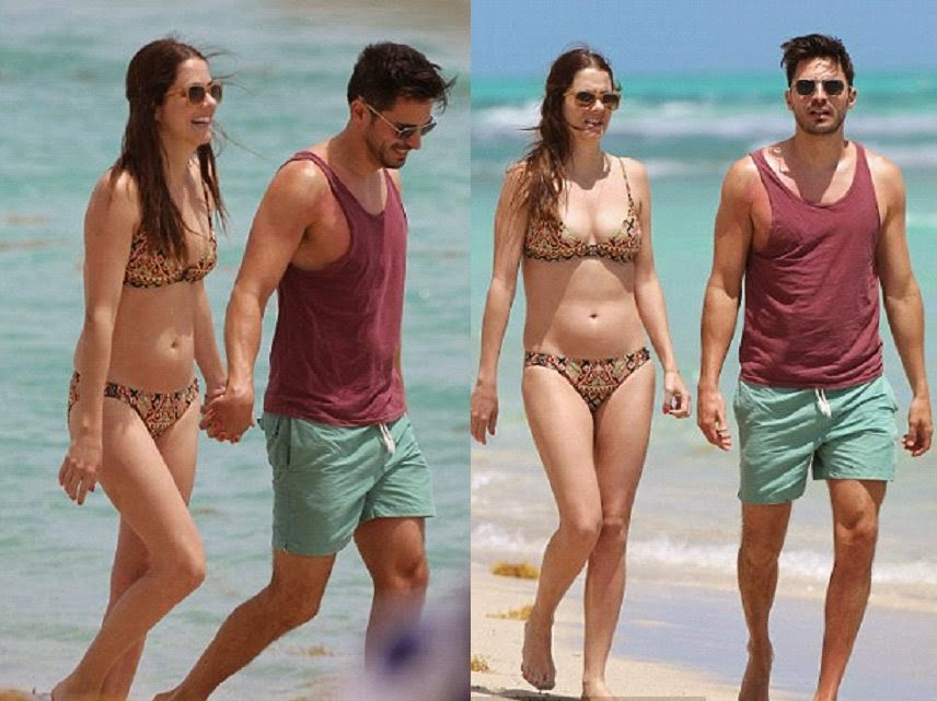 Julie Gonzoalo showed off her incredible figure during a vacation in Miami, FL, USA on Saturday, April 12, 2014 with her boyfriend, Josh Hutcherson.