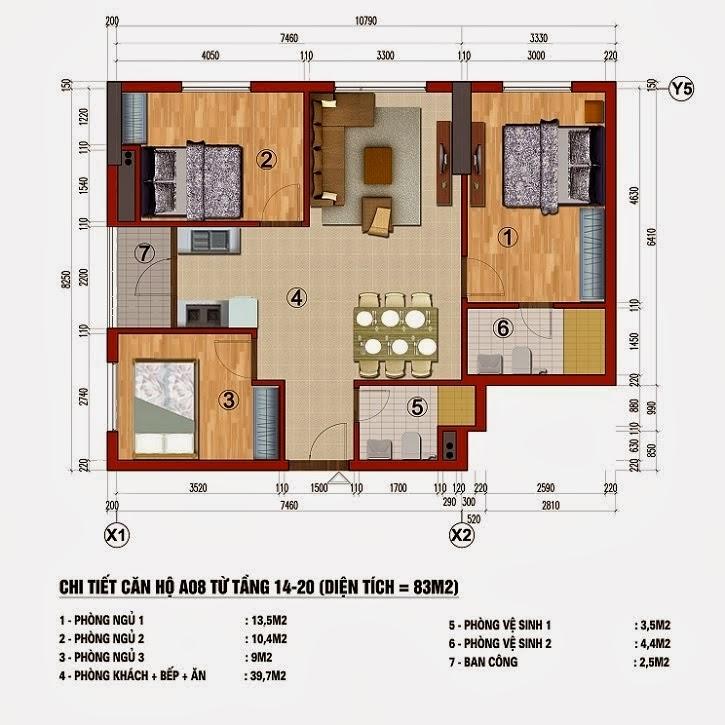 Chung cư 283 Khương Trung, Căn A8, diện tích 83m2