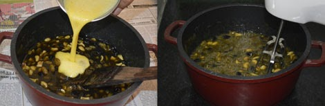 adding eggs to fruit cake mixture