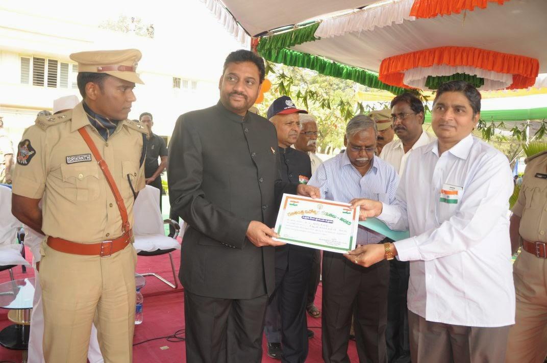 Felicitation of Sri O.Vijaykumar, SSP Ongole on Republic day by Dist Collector