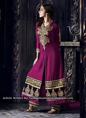 Green Malaika Arora Khan Slit Anarkali Suit / Magenta Shraddha Kapoor Suit