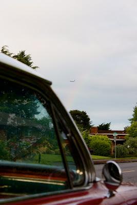 plane in rainbow