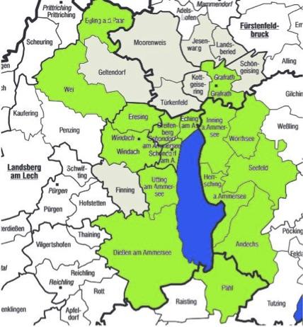 Gebiet der Lokale Aktionsgruppe (LAG) Ammersee