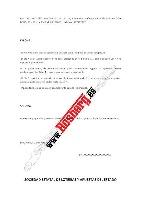 modelo | reclamacion casa de apuestas | España
