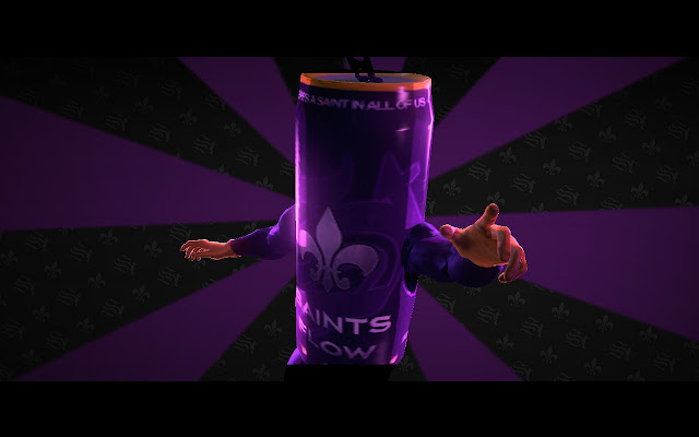 Saints Flow commercial mascot
