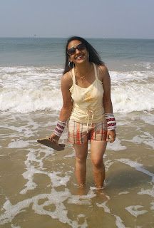 indian girl at beach goa