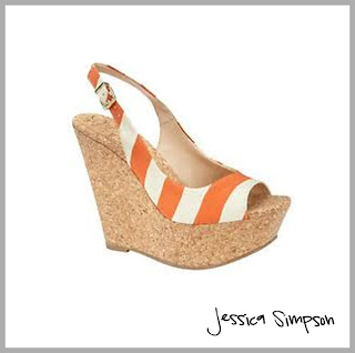 orange and white striped wedge platform sandals