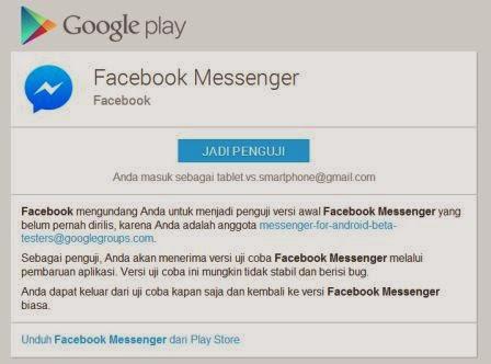 Facebook membuhtukan penguji untuk fitur baru massenger pada Android
