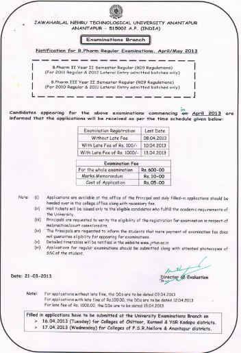 jntu anantapur regular  3-2, 2-2 exam fee notification 2013 R09