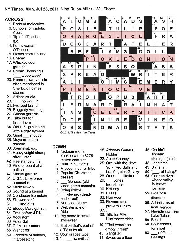 07.25.11 u2014 A Little Something Extra  sc 1 st  The New York Times Crossword in Gothic & The New York Times Crossword in Gothic: July 2011 25forcollege.com