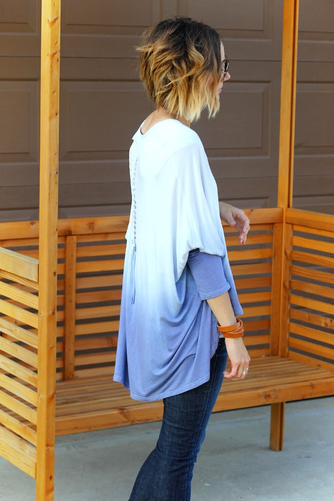 Ombre short hair, ombre batwing top and dark denim