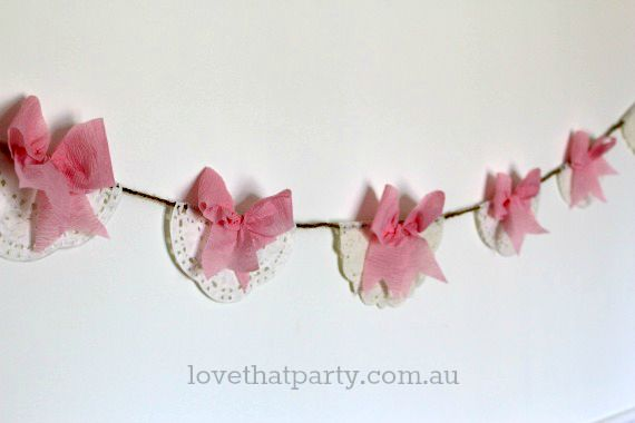 crepe paper bow garland party decoration pink
