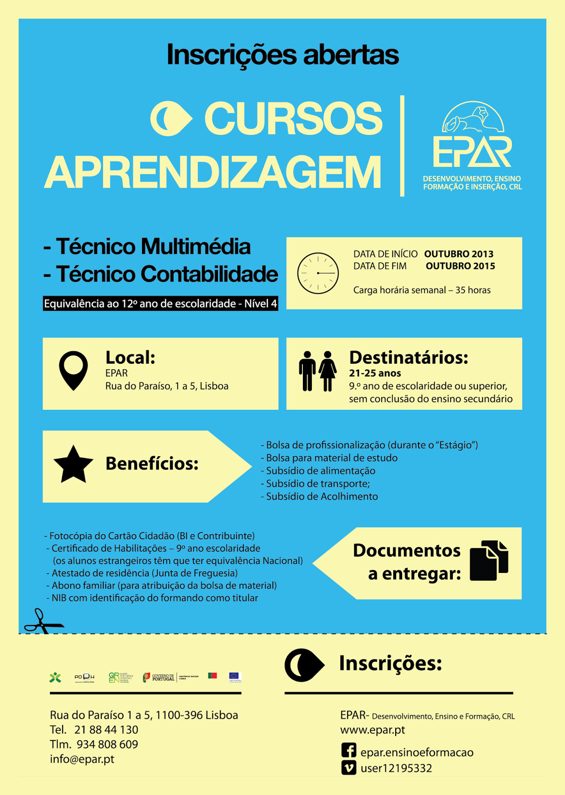Cursos de aprendizagem 2013 / 2015 em Lisboa