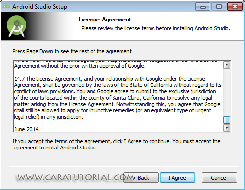 License Agreement Android Studio Installation