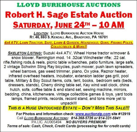 6-24 Estate Auction, Bradford, PA