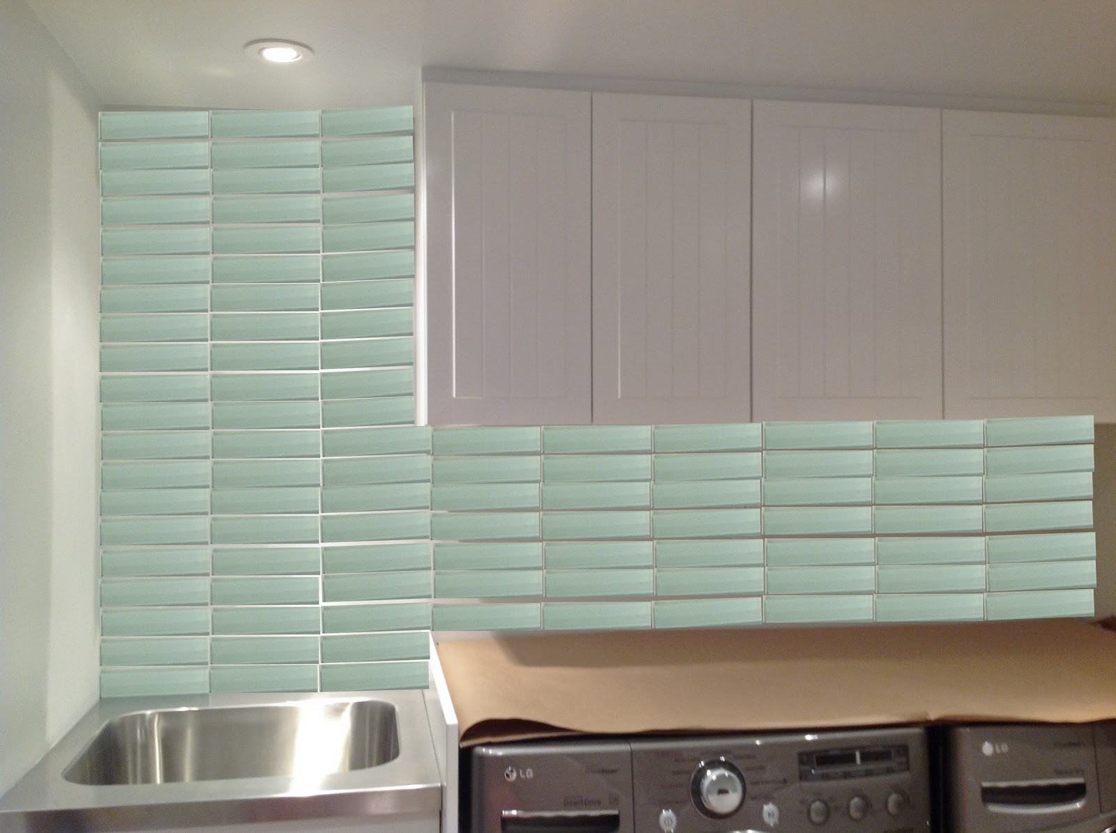 the basement: glass tile backsplash - rambling renovators