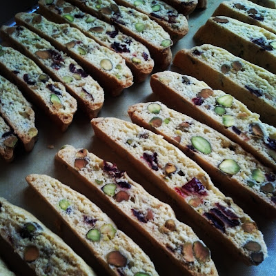 Christmas Biscotti made with cranberries and pistachios