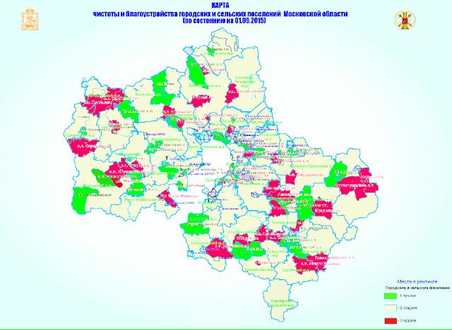 «Карта чистоты» Московской области: несмотря на летний наплыв дачников, красного цвета немного.