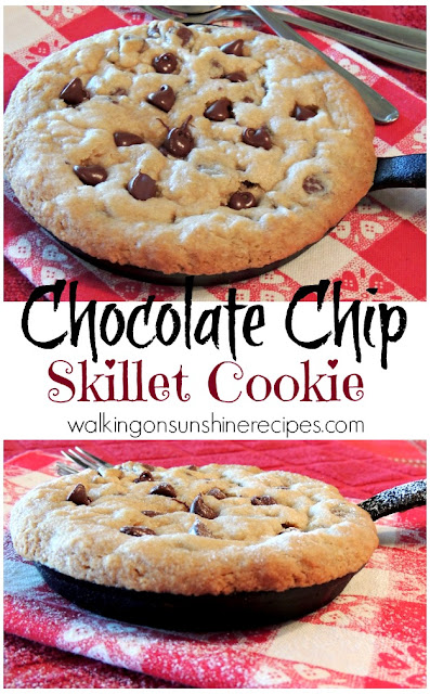 All of the goodness of a classic chocolate chip cookie but made in a mini iron skillet. The perfect sweet treat for two to share from Walking on Sunshine Recipes.