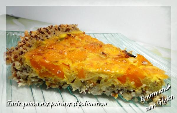 Gourmande sans gluten tarte quinoa aux poireaux et potimarron - Tarte aux poireaux sans oeufs ...