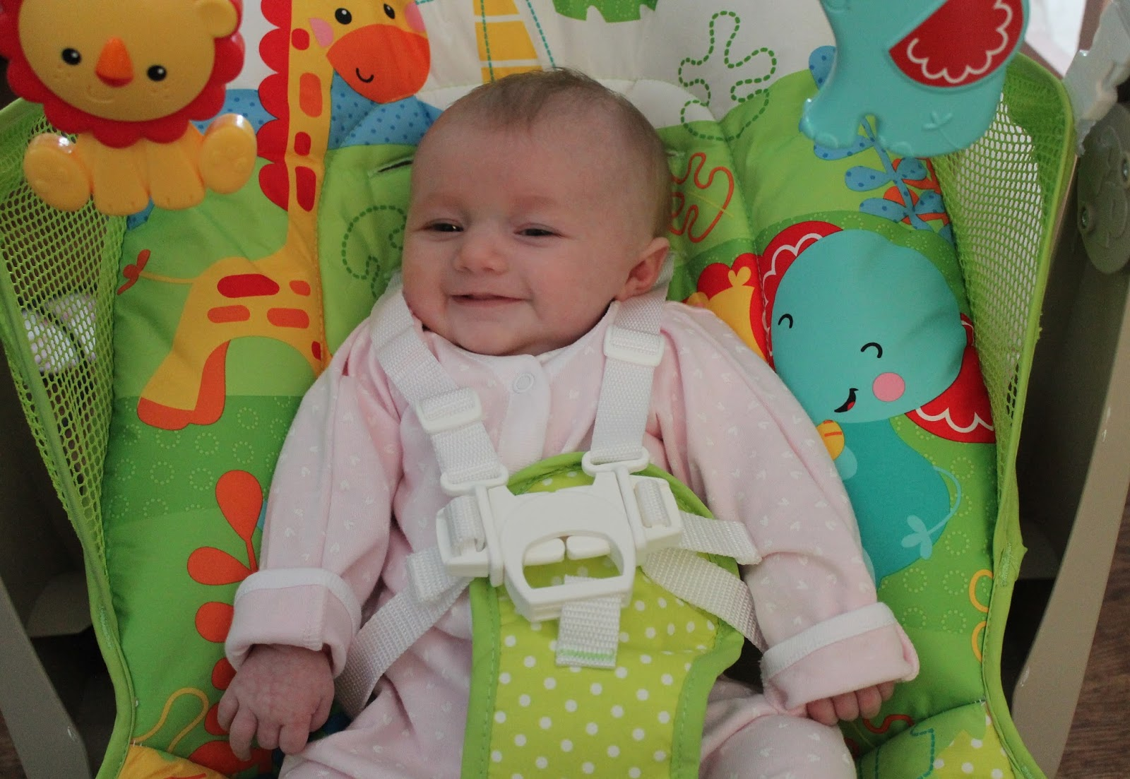 Happy Baby using Fisher Price Seat/Swing