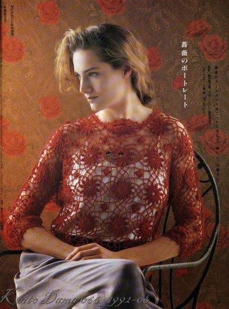 Esquemas y moldes de blusa crochet
