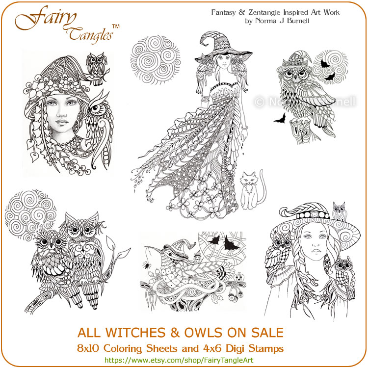 halloween coloring book pages and digi stamps on sale