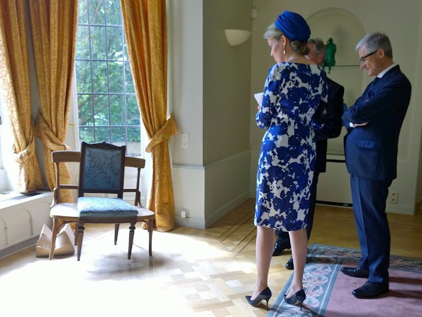 Queen Mathilde of Belgium visits the residence of the Belgian ambassador on May 20, 2015 in The Hague