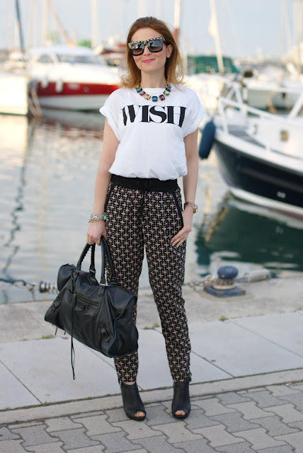 wish t-shirt, pull & bear pyjama pants, Balenciaga bag, fashion and cookies